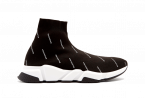 BALENCIAGA SPEED RUNNER MID LOGO / BLACK / WHITE
